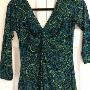 Dress green blue London times with 3/4 sleeves
